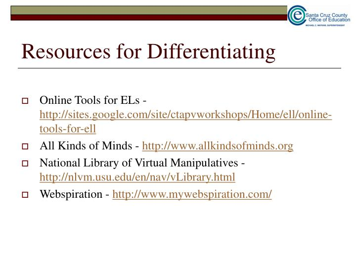 Resources for Differentiating
