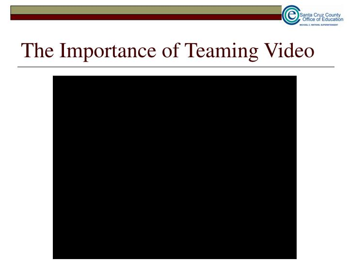 The Importance of Teaming Video