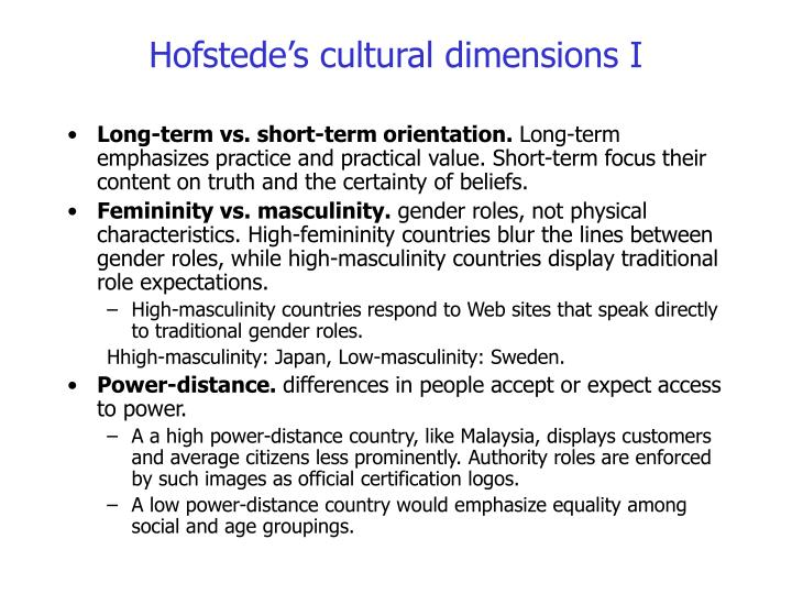 Hofstede's cultural dimensions I