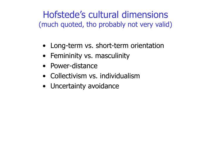 Hofstede's cultural dimensions