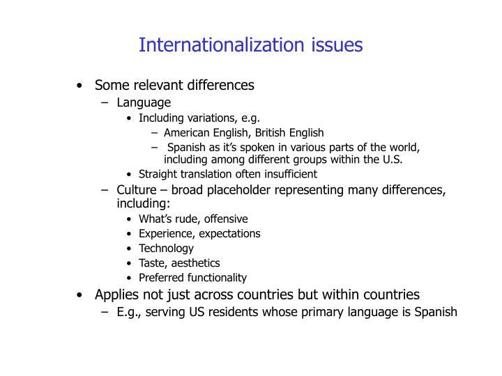 Internationalization issues