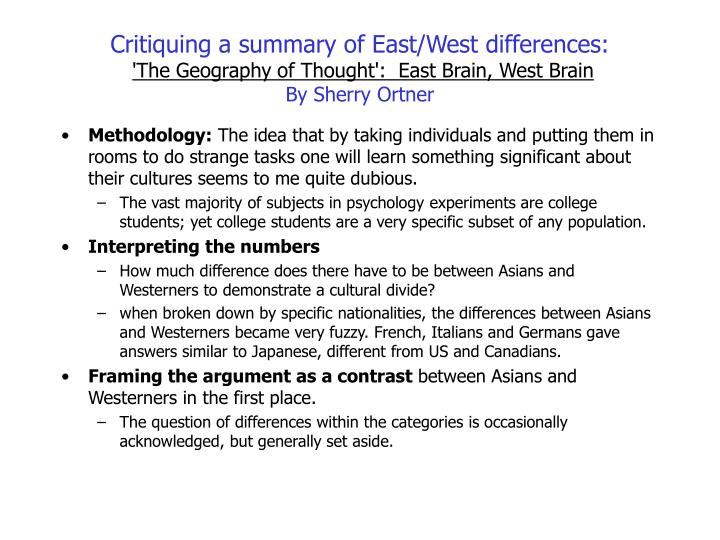 Critiquing a summary of East/West differences: