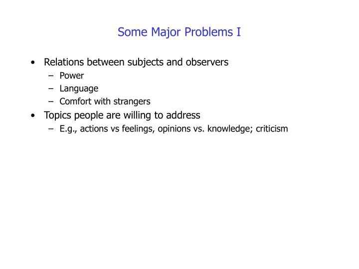 Some Major Problems I
