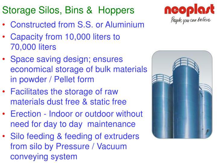 Storage Silos, Bins &  Hoppers