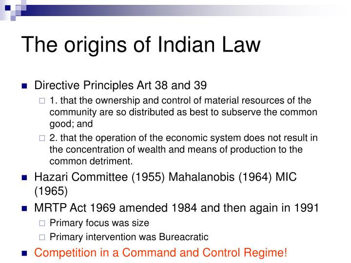 The origins of Indian Law