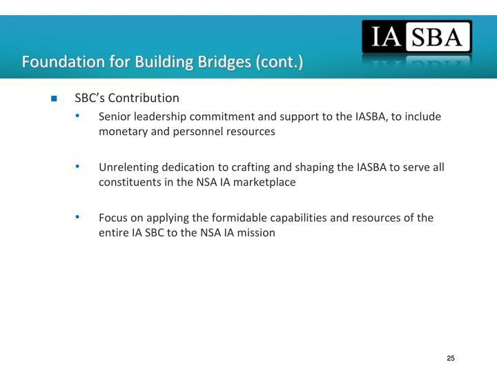 Foundation for Building Bridges (cont.)