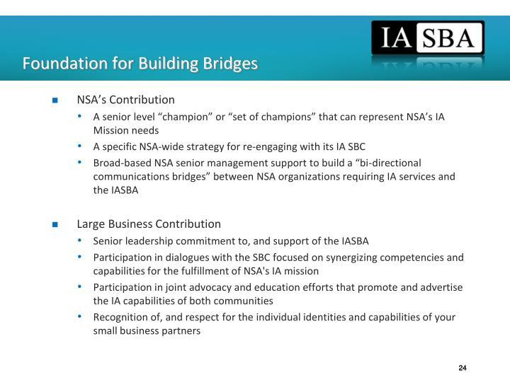 Foundation for Building Bridges