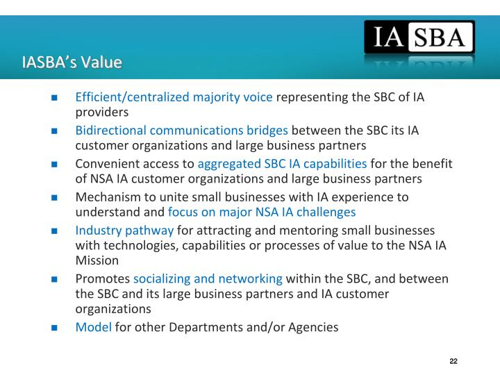 IASBA's Value