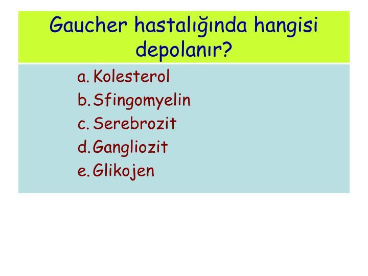 Gaucher hastalığında hangisi depolanır?