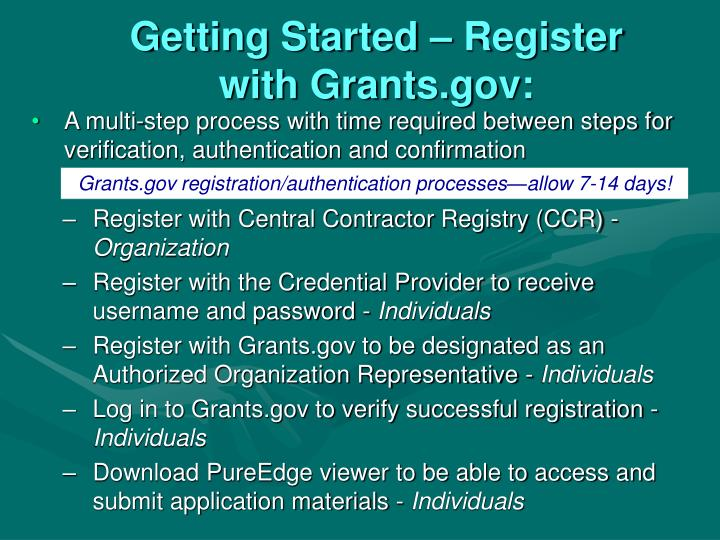 Getting Started – Register with Grants.gov: