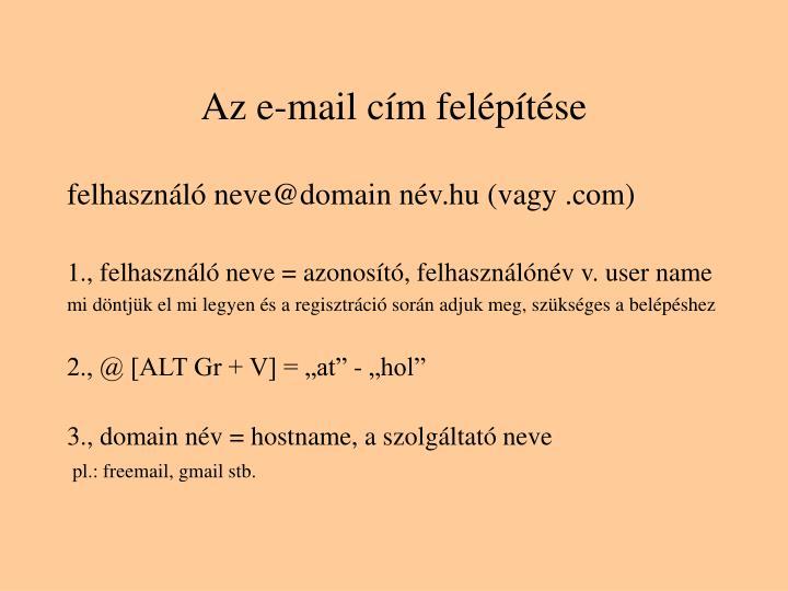 Az e-mail cím felépítése