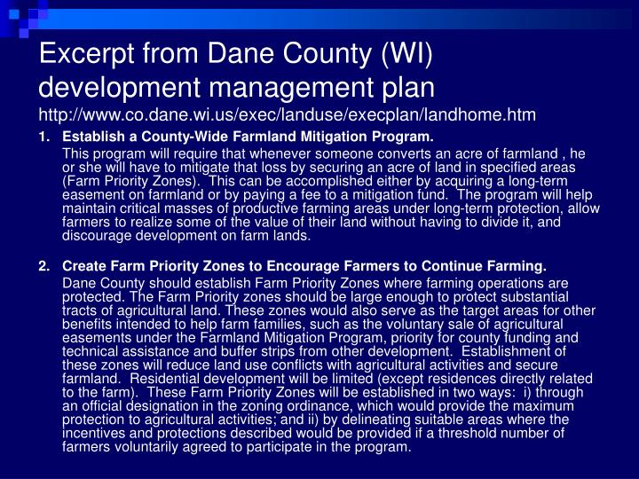 Excerpt from Dane County (WI) development management plan