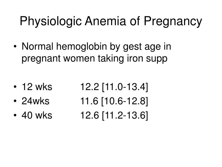 Physiologic Anemia of Pregnancy