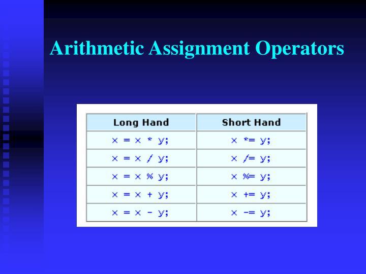 Arithmetic Assignment Operators