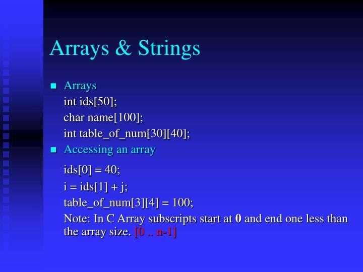 Arrays & Strings