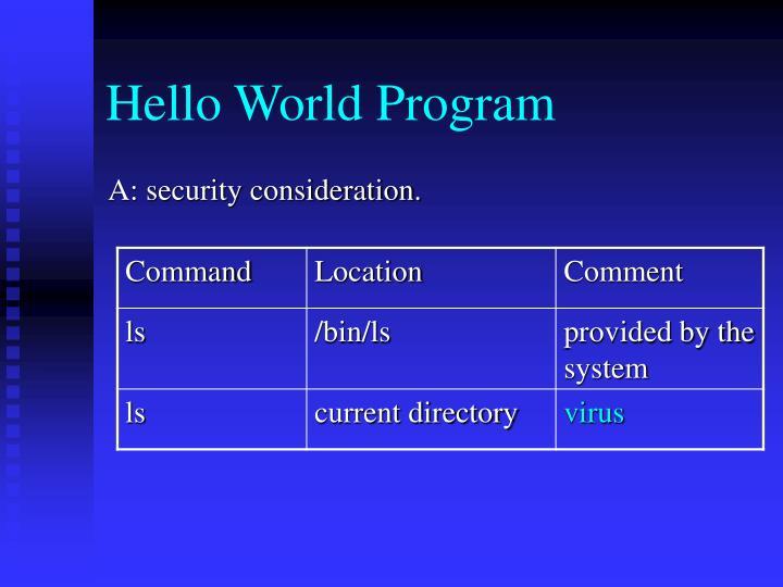 Hello World Program