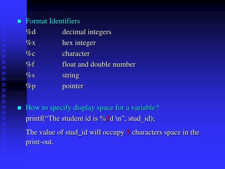 Format Identifiers