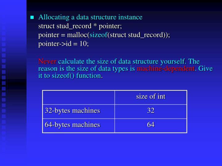 Allocating a data structure instance