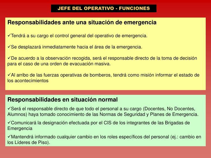 JEFE DEL OPERATIVO - FUNCIONES