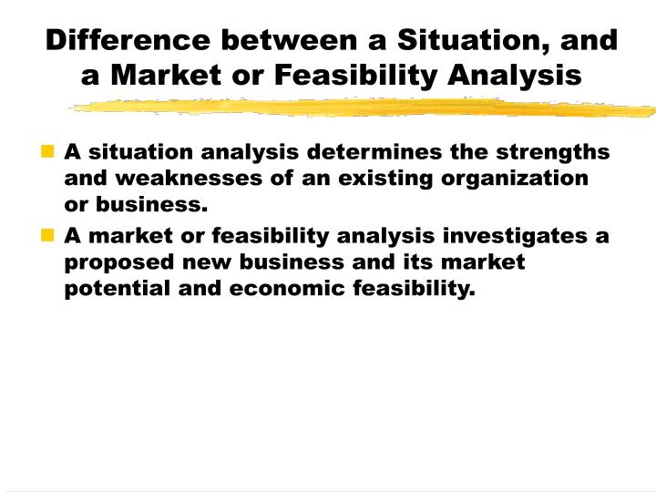 Difference between a Situation, and a Market or Feasibility Analysis