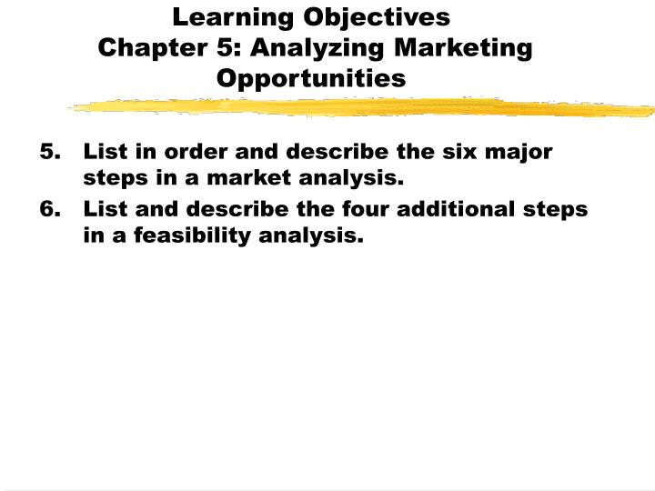 Learning objectives chapter 5 analyzing marketing opportunities1
