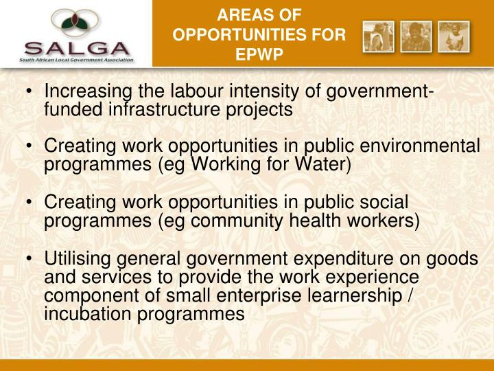 Areas of opportunities for