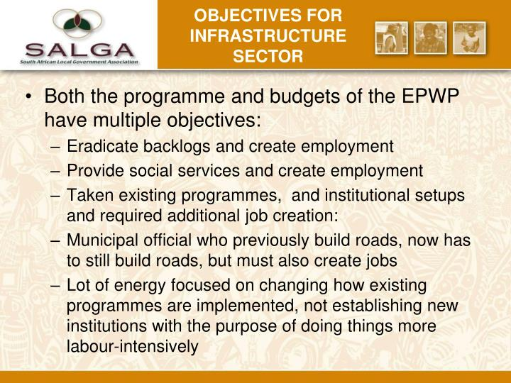 Objectives for infrastructure sector
