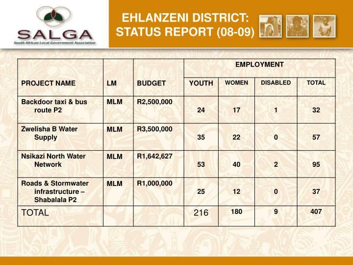 Ehlanzeni district: status report (08-09)