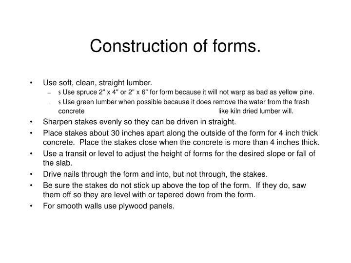 Construction of forms.