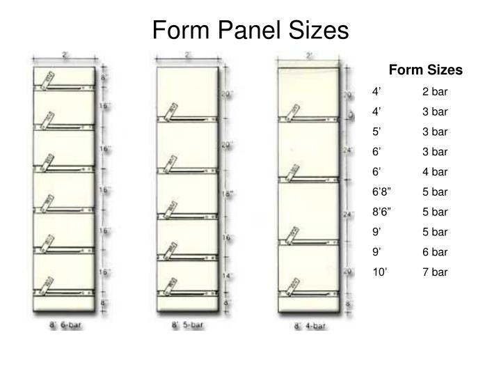 Form Panel Sizes