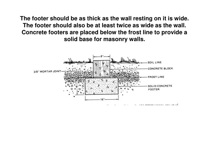 The footer should be as thick as the wall resting on it is wide.  The footer should also be at least twice as wide as the wall.  Concrete footers are placed below the frost line to provide a solid base for masonry walls.