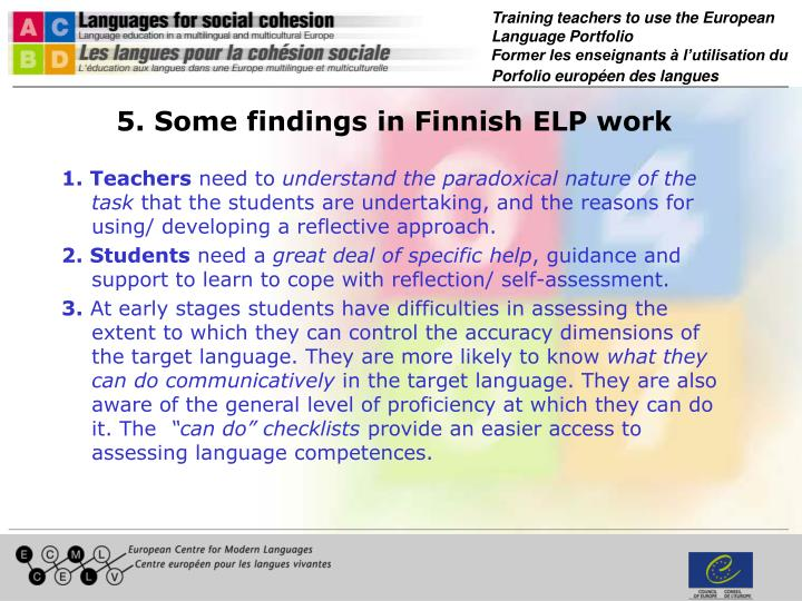 5. Some findings in Finnish ELP work