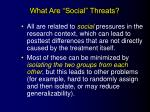 what are social threats