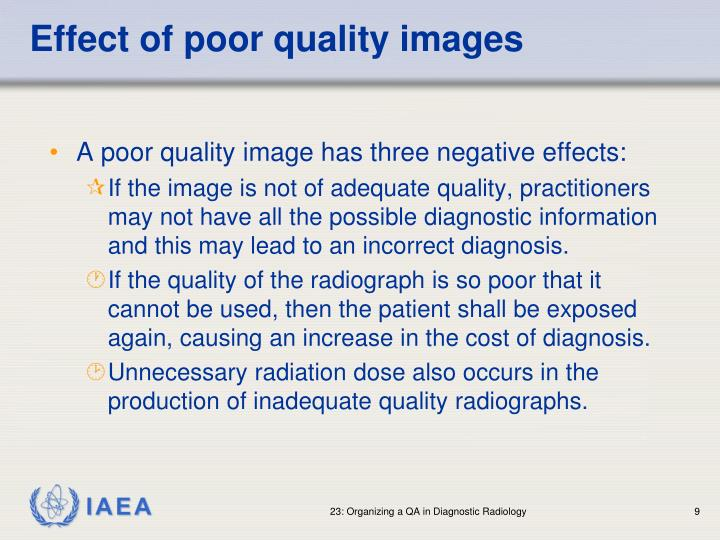 Effect of poor quality images