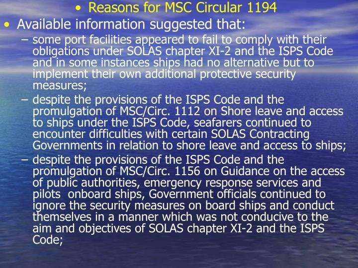Reasons for MSC Circular 1194