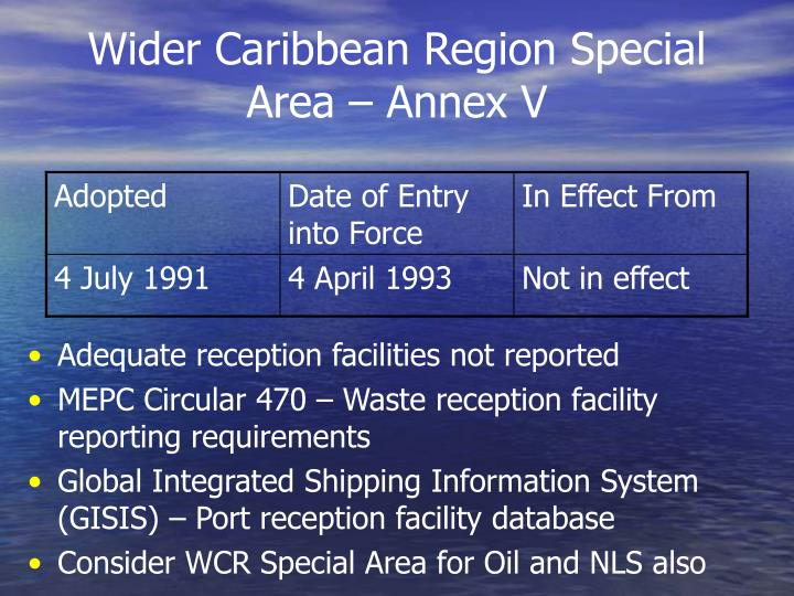 Wider Caribbean Region Special Area – Annex V