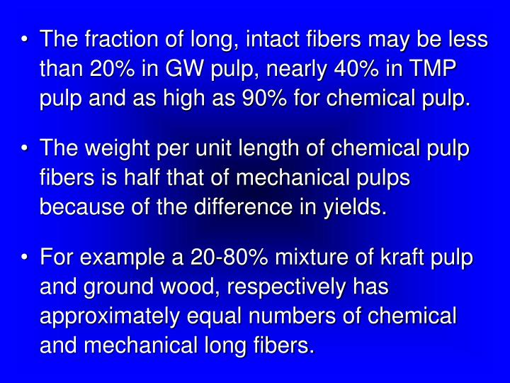 The fraction of long, intact fibers may be less than 20% in GW pulp, nearly 40% in TMP pulp and as high as 90% for chemical pulp.