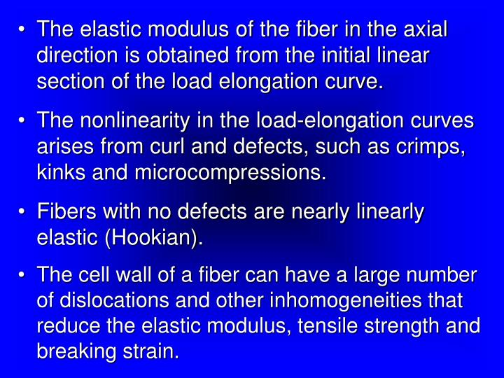 The elastic modulus of the fiber in the axial direction is obtained from the initial linear section of the load elongation curve.