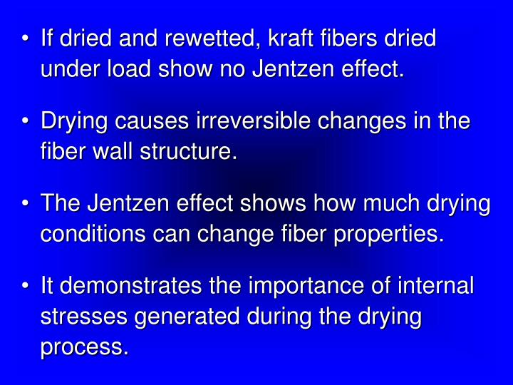 If dried and rewetted, kraft fibers dried under load show no Jentzen effect.