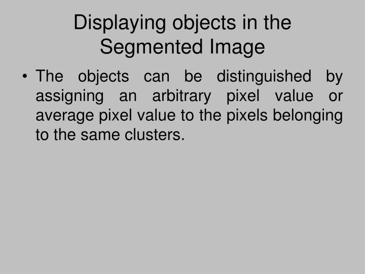 Displaying objects in the Segmented Image