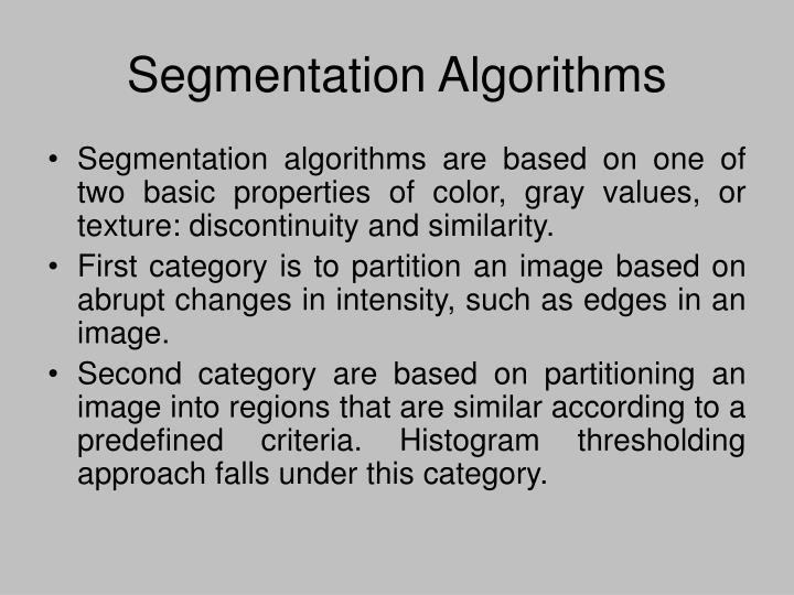 Segmentation Algorithms