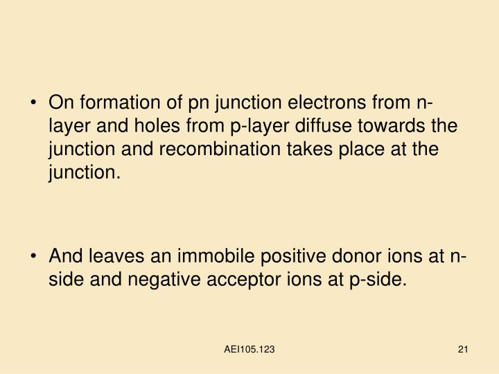 On formation of pn junction electrons from n-layer and holes from p-layer diffuse towards the junction and recombination takes place at the junction.