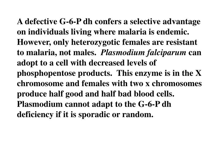 A defective G-6-P dh confers a selective advantage on individuals living where malaria is endemic.  However, only heterozygotic females are resistant to malaria, not males.