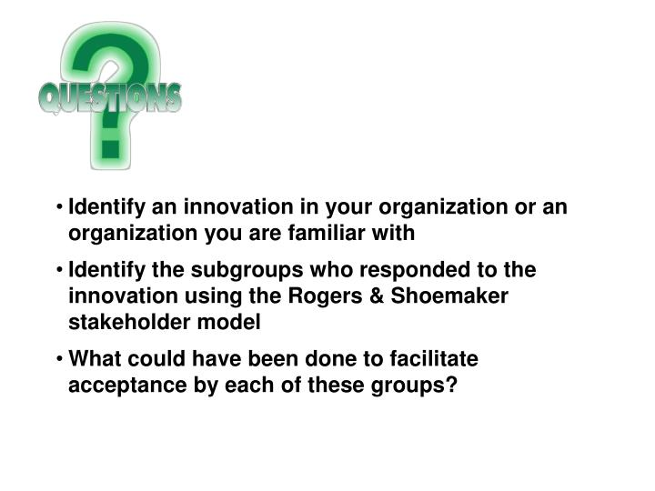 Identify an innovation in your organization or an organization you are familiar with