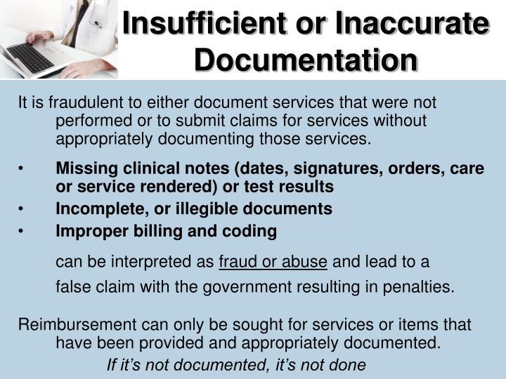 Insufficient or Inaccurate