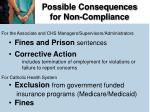 possible consequences for non compliance