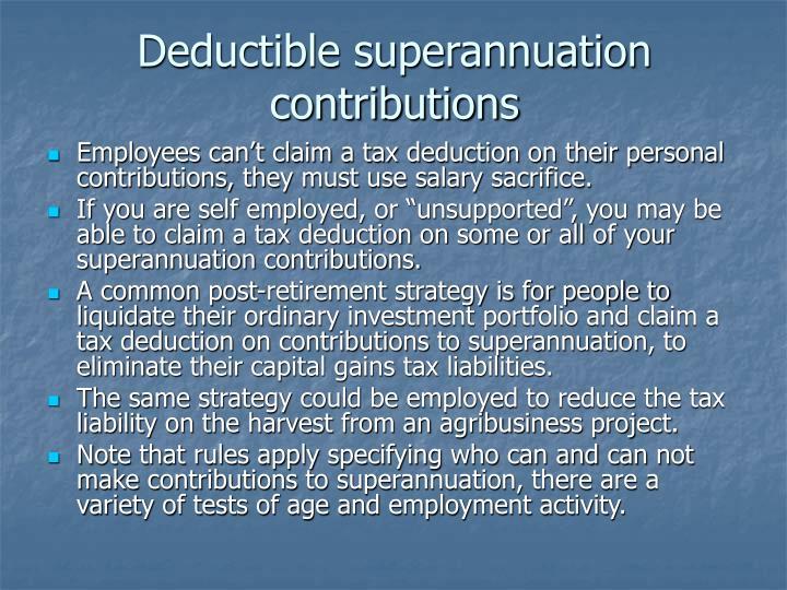 Deductible superannuation contributions