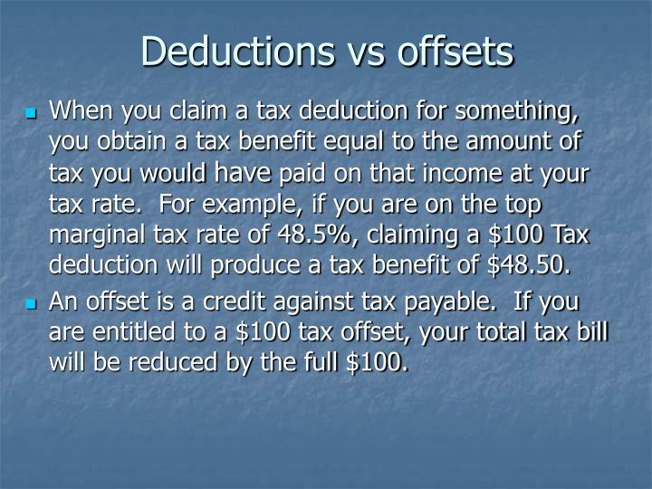 Deductions vs offsets