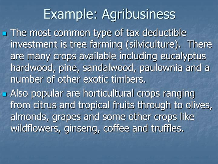 Example: Agribusiness