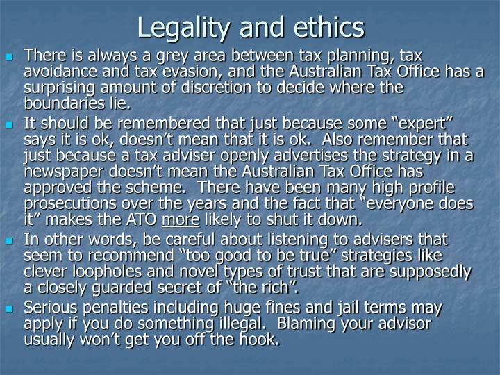 Legality and ethics